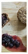 Bran Muffins With Mulberry Jam Beach Towel