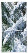 Branches In Winter Season With Fresh Fallen Snow Beach Towel
