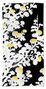 Branches Of White Yellow Leaves And Flowers At Night, Black Background Beach Towel