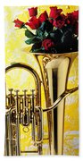 Brass Tuba With Red Roses Beach Towel