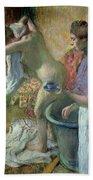 Breakfast After A Bath Beach Towel by Edgar Degas
