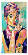 Audrey Hepburn Painting, Breakfast At Tiffany's Beach Sheet