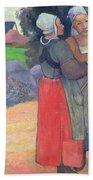 Breton Peasants Beach Towel by Paul Gauguin