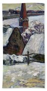Breton Village Under Snow Beach Towel by Paul Gauguin