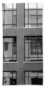 Brick Building Black And White Beach Towel