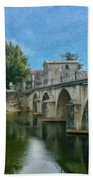 Bridge At Quissac - P4a16005 Beach Towel