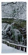 Bridge In Snow Beach Towel
