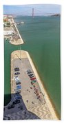 Bridge Of 25 April Panorama Beach Towel