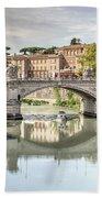 Bridge Over The River Tevere, Rome, Italy Beach Towel