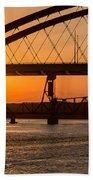 Bridge Sunrise And Boater Beach Towel