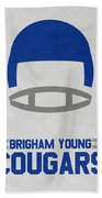 Brigham Young Cougars Vintage Football Art Beach Towel