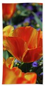 Bright Colored Garden With Striped Tulips In Bloom Beach Towel