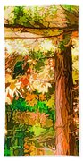 Bright Colored Leaves On The Branches In The Autumn Forest Beach Towel