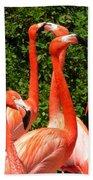 Bright Flamingos Beach Towel
