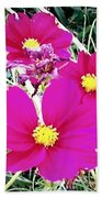 Bright Pink Flowers Beach Towel