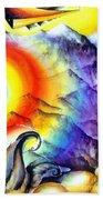 Bright Rainbow And Mountains. Cyborg's Land Beach Towel