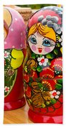 Bright Russian Matrushka Puzzle Dolls Beach Towel