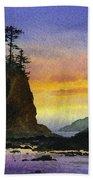 Bright Seacoast Sunset Beach Towel