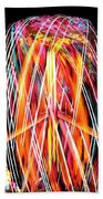 Brightly Colored Abstract Light Painting At Night From The Fireb Beach Towel
