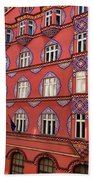 Brightly Colored Cooperative Business Bank Building Or Vurnik Ho Beach Towel