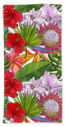 Brightly Colored Tropical Flowers And Ferns  Beach Towel