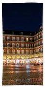 Brightly Lit Midnight - Plaza Mayor In Madrid Spain Beach Towel