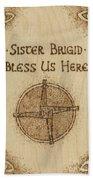 Brigid's Cross Blessing Woodburned Plaque Beach Towel