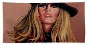 Brigitte Bardot Painting 1 Beach Towel