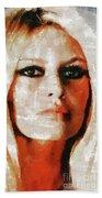 Brigitte Bardot By Mary Bassett Beach Towel