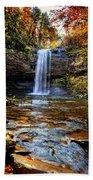 Brilliant Fall Waterfall At Cloudland Canyon Beach Towel