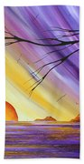 Brilliant Purple Golden Yellow Huge Abstract Surreal Tree Ocean Painting Royal Sunset By Madart Beach Towel