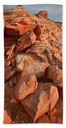 Brilliantly Colored Sandstone At Sunrise In Valley Of Fire Beach Towel