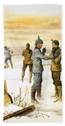 British And German Soldiers Hold A Christmas Truce During The Great War Beach Towel