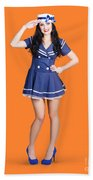 British Navy Blue Pin Up Girl Saluting Beach Towel