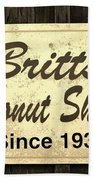 Britt's Donut Shop Sign 3 Beach Towel
