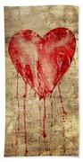 Broken And Bleeding Heart On The Wall Beach Towel