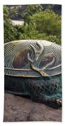 Bronze Turtle Dragon Sculpture Beach Towel