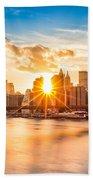 Brooklyn Bridge And The Lower Manhattan Skyline At Sunset Beach Towel