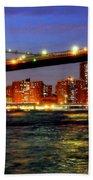 Brooklyn Bridge At Night Beach Sheet