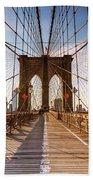 Brooklyn Bridge At Sunset, New York, Usa Beach Towel
