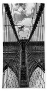 Brooklyn Bridge Bw Beach Towel