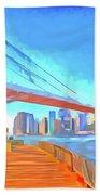 Brooklyn Bridge New York Pop Art Beach Towel