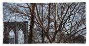 Brooklyn Bridge Thru The Trees Beach Towel