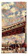 Brooklyn Bridge Watercolor Beach Towel