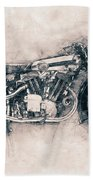 Brough Superior Ss100 - 1924 - Motorcycle Poster - Automotive Art Beach Towel