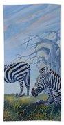 Browsing Zebras Beach Towel