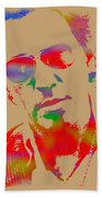 Bruce Springsteen Watercolor Portrait On Worn Distressed Canvas Beach Towel