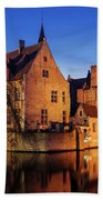 Bruges Architecture At Blue Hour Beach Towel by Barry O Carroll