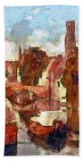 Bruges Canal View Beach Towel