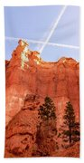 Bryce Canyon Hoodoos With Contrails Beach Towel